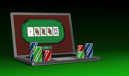 one portable computer with poker fiches (3d render) photo