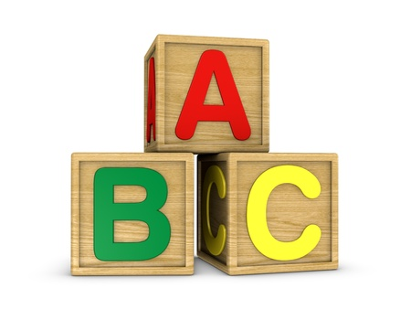 abc blocks: three wooden cubes with a, b, c letters (3d render)
