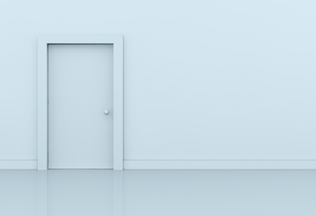 closed door: one wall with a closed door on left side (3d render) Stock Photo