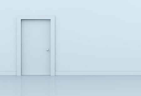 signo infinito: una pared con una puerta cerrada en el lado izquierdo (procesamiento 3d)