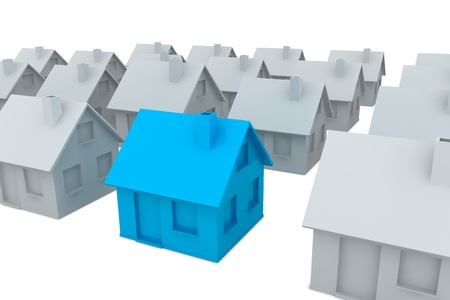 crowd of houses with one in different color (3d render) photo
