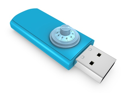 one usb key with a lock combination, concept of safety (3d render) Stock Photo - 10747140
