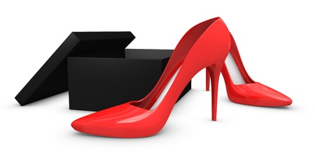 high heels shoes with their box (3d render) photo