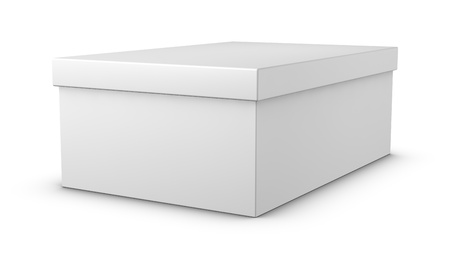 business shoes: one white closed shoe box (3d render) Stock Photo