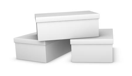 tienda zapatos: tres blancos cerraron de cajas de zapatos (render 3d) Foto de archivo