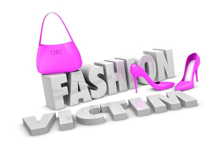 victims: one pair of high heels shoes and a bag with the words fashion victim (3d render)