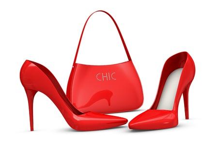 tacones rojos: un par de zapatos de tacones altos y una bolsa (3d)