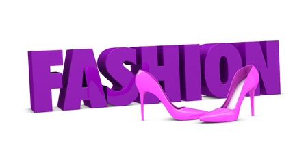one pair of high heels shoes with the word fashion on background (3d render) photo