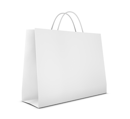 white paper bag: one classic white shopping bag (3d render)