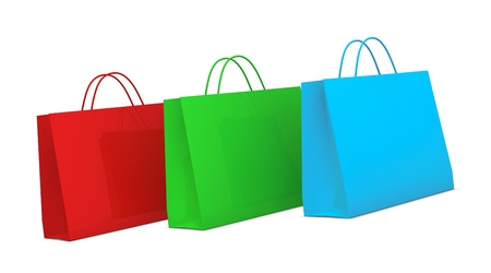 three shopping bags on various color (3d render) Stock Photo - 10747138