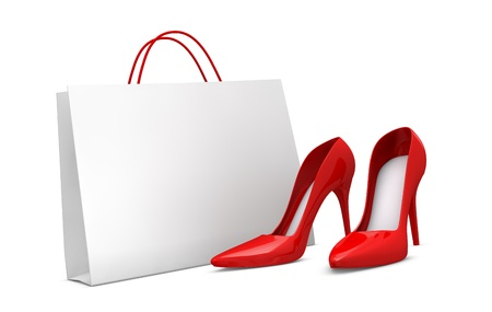 red retail: one classic white shopping bag with a pair of women shoes (3d render)
