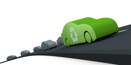 clean  electric: road with many cars, with one at zero pollution (3d render)