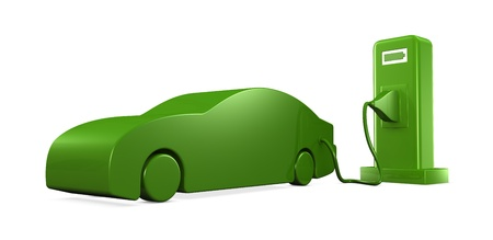 electric automobile: concept of recharging an electric car (3d render) Stock Photo