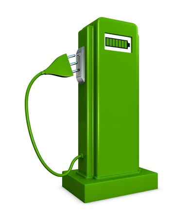 co2: concept of a pump for recharge electric cars (3d render)