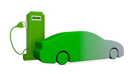 concept of recharging an electric car (3d render) photo