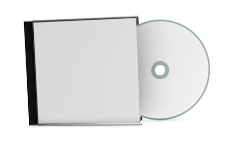 jewel case: one cd or dvd case with a disc (3d render) Stock Photo