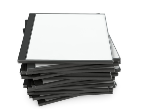 one pile of blank cd jewel cases (3d render) photo