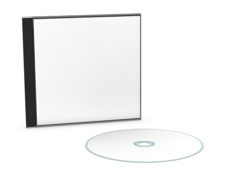 jewel box: one cd or dvd case with a disc (3d render) Stock Photo