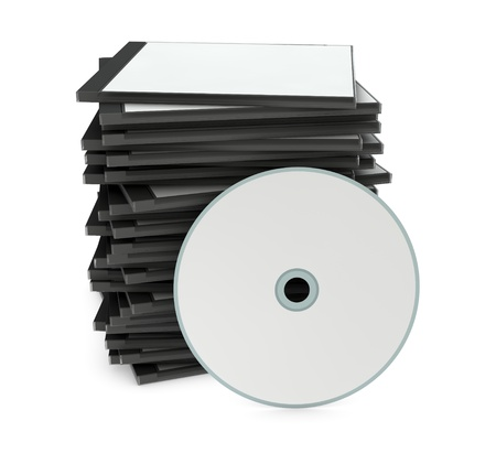 one pile of blank cd jewel cases with a disc on front (3d render) photo