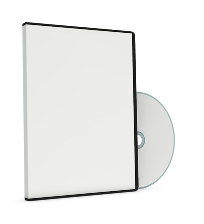 computer case: one cd or dvd case with a disc (3d render) Stock Photo