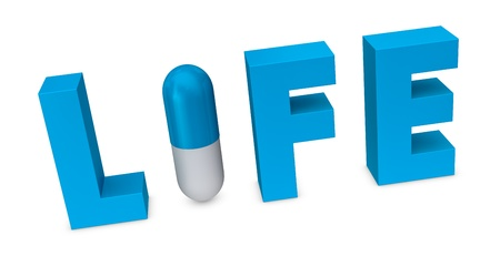 hospital background: the word life with a pill that forms the letter i (3d render)