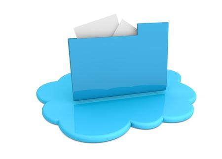 una nube con una carpeta de ordenador sobre él (procesamiento 3d) Foto de archivo