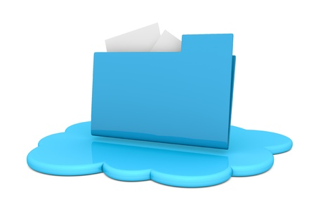 cloud computing services: one cloud with a computer folder over it (3d render)