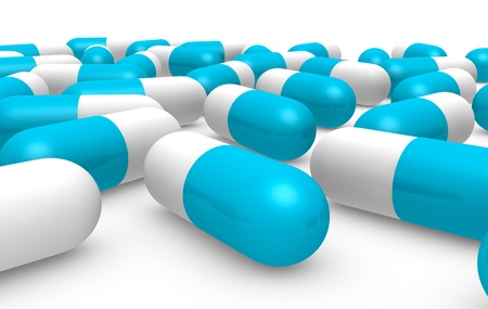 front view of many blue and white pills (3d render) photo