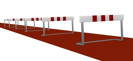 barrier: some obstacles, concept of difficulty or problem (3d render)
