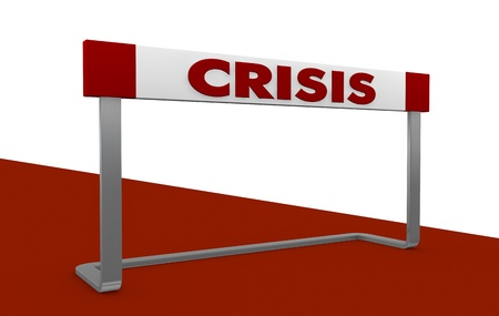 concept image with one obstacle and the word: crisis (3d render) photo