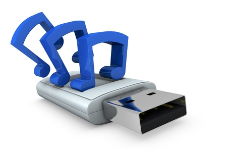 stored: concept image of one usb key with multimedia data stored on it (3d render) Stock Photo