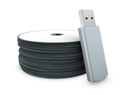 one usb key with a stack of cd concept of evolution of data storage (3d render) Stock Photo - 10920814