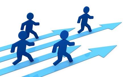 runs: concept image that shows some 3d cartoon people that runs toward the success