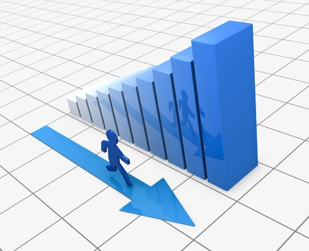 one growing bar chart with a cartoon man that runs next to it(3d render) Stock Photo - 10920835