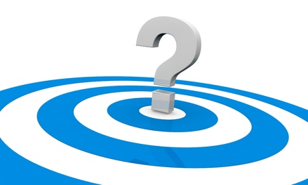 one target with a question mark on center, concept of an unknown target or unknown strategy to reach the goal (3d render) Stock Photo - 10920781