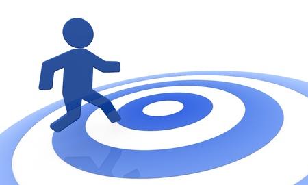concept image that shows one 3d cartoon man that runs toward the success Stock Photo - 10920798