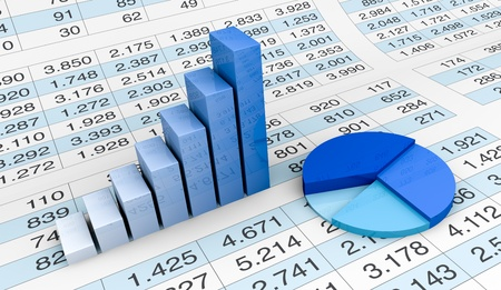 lot of numbers in a spreadsheet and charts over it (3d render) Stock fotó