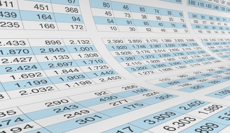 data sheet: lot of numbers on a spreadsheet (3d render) Stock Photo