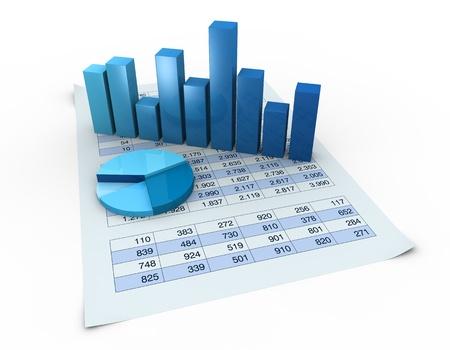 analyse: beaucoup de chiffres dans un tableur et graphiques sur elle (rendu 3D)