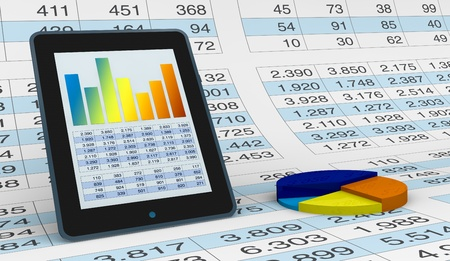 hoja de calculo: computadora, hoja de cálculo y gráficos para mostrar el concepto de herramientas modernas para el análisis financiero y de mercado (3d) Foto de archivo