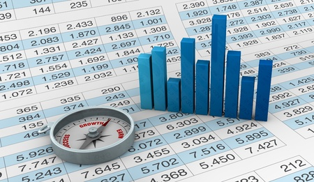 debt goals: lot of numbers in a spreadsheet and a compass and charts over it (3d render) Stock Photo