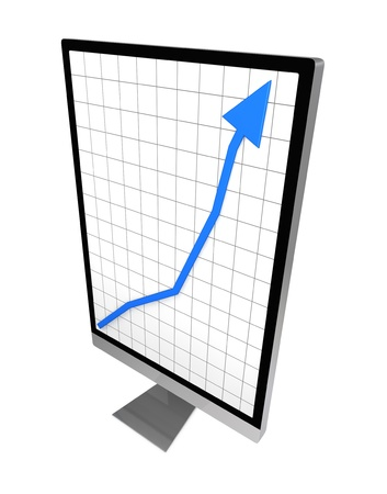 one computer desktop with a deformed screen to show a growing chart (3d render) Stock Photo - 10920779