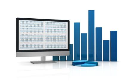 스프레드 시트: 컴퓨터, 스프레드 시트 및 금융 시장 분석을위한 현대적인 도구의 개념을 표시하는 차트 (3d 렌더링) 스톡 사진