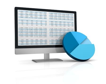 hoja de calculo: computadora, hoja de c�lculo y gr�ficos para mostrar el concepto de herramientas modernas para el an�lisis financiero y de mercado (3d) Foto de archivo