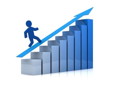 graficos de barras: un gr�fico de barras creciente con un hombre de caricatura lo escalada (render 3d) Foto de archivo