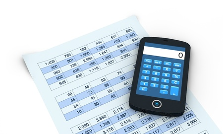 one smartphone with a calculator application and spreadsheet  (3d render) photo