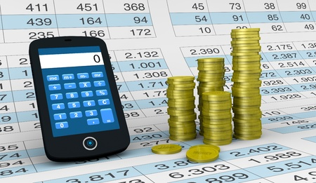 one smartphone with a calculator application a spreadsheet and piles of coins  (3d render) photo