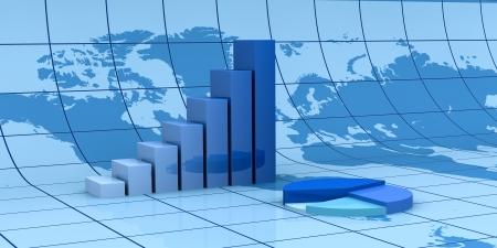economia: estad�stica de los gr�ficos de barras y circulares con el mapa del mundo en el fondo (3d) Foto de archivo