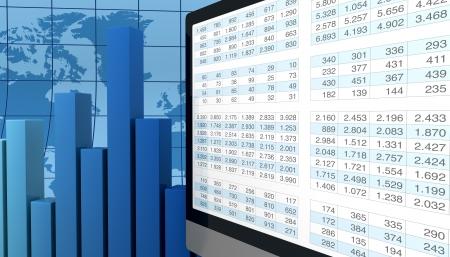 hoja de calculo: equipo, hoja de cálculo y gráficos para mostrar el concepto de herramientas modernas para financiera y análisis de mercado (render 3d)