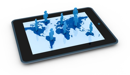 cartoon people on a world map with a computer tablet (3d render) Stock Photo - 11097983
